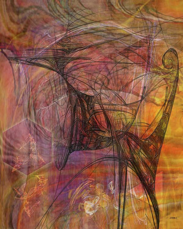 Shadow Dragon Art Print featuring the digital art Shadow Dragon by John Robert Beck