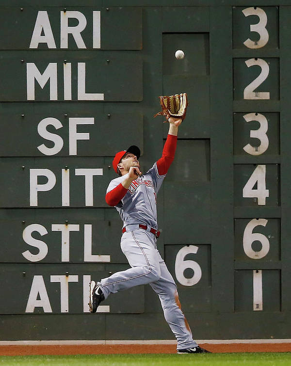 American League Baseball Art Print featuring the photograph Shane Victorino and Chris Heisey by Jared Wickerham