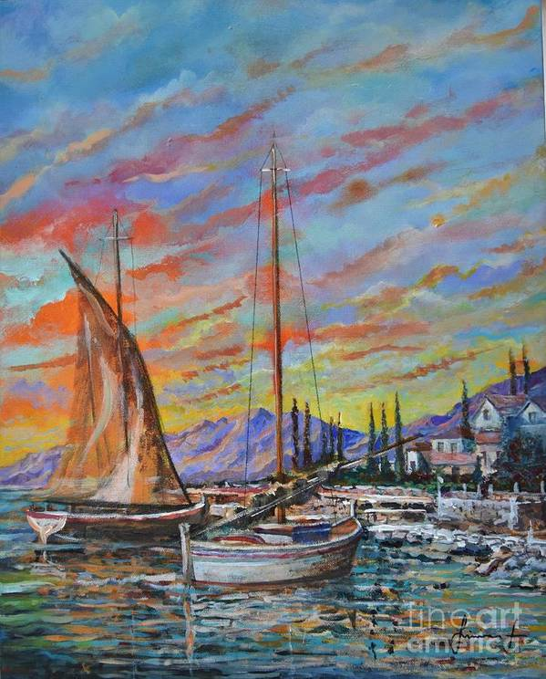 Original Painting Art Print featuring the painting Sunset by Sinisa Saratlic