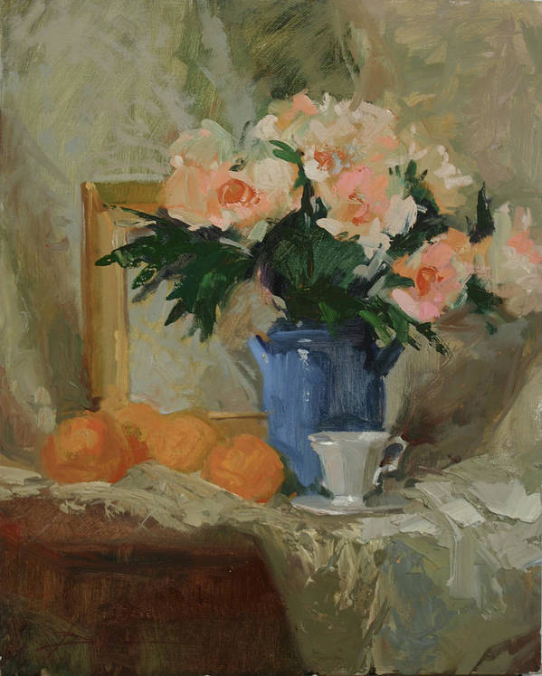 Still Life Art Print featuring the painting Tea and Roses by Betty Jean Billups