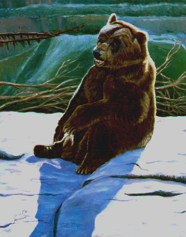 Original Oil On Canvas Art Print featuring the painting The Bear by Stan Hamilton