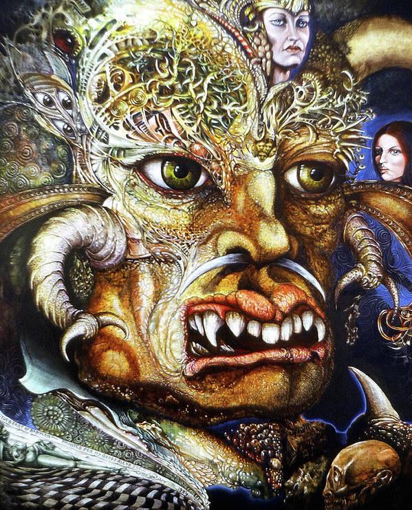 Surrealism Fantastic+realism Mythology Myth Beast Religion Art Print featuring the painting The Beast Of Babylon II by Otto Rapp