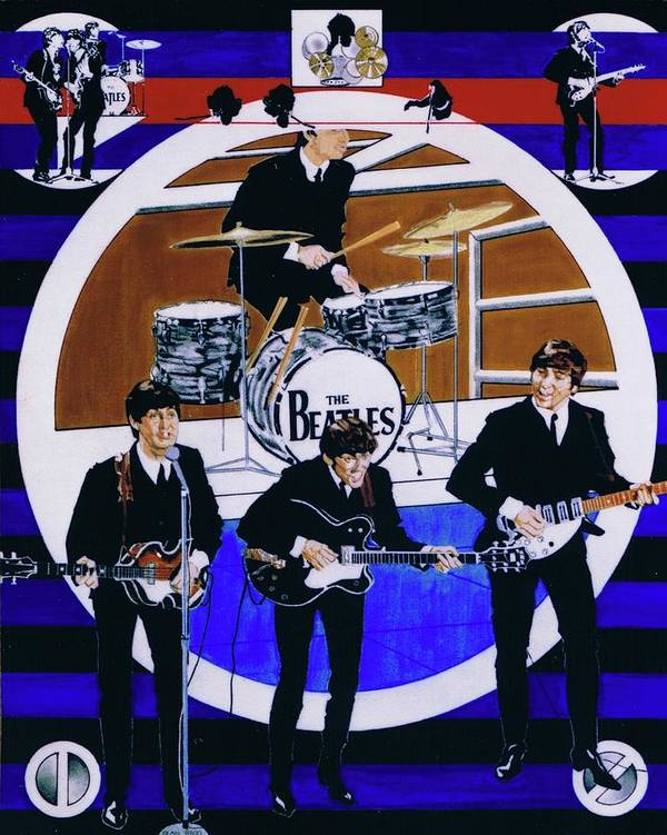 The Beatles Live Art Print featuring the drawing The Beatles - Live On The Ed Sullivan Show by Sean Connolly