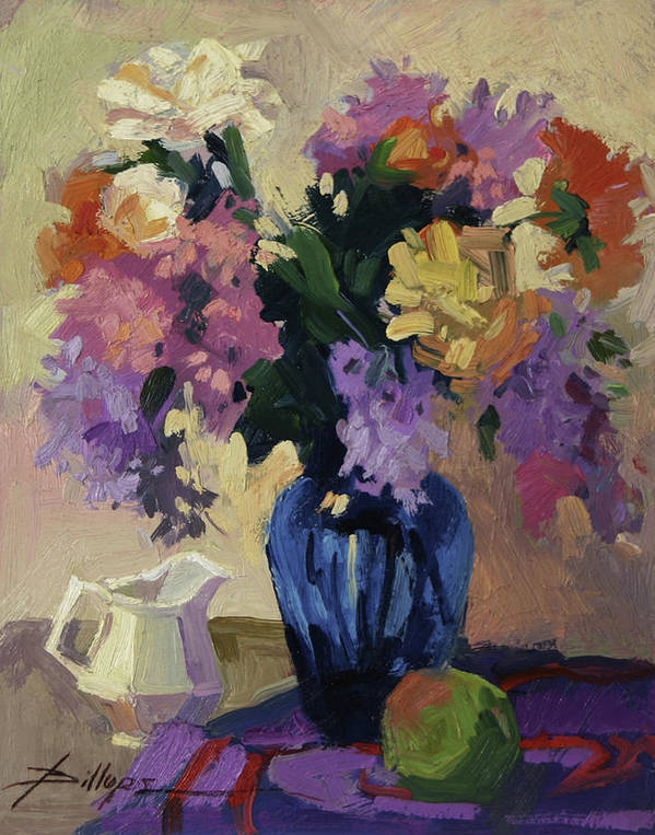 Still Life With Blue Vase Art Print featuring the painting The Blue Vase by Betty Jean Billups