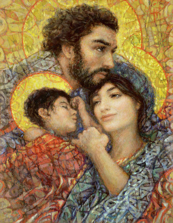 Holy Art Print featuring the painting The Holy Family of Nazareth by Smith Catholic Art