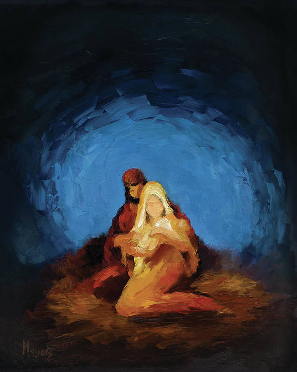 Mary Art Print featuring the painting The Nativity by Mike Moyers