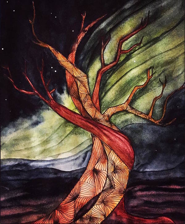 Tree Art Print featuring the painting Tree with Northern Lights by Vonda Drees