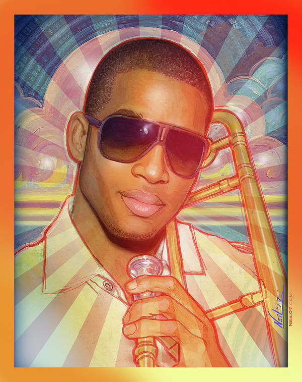 Nola Art Print featuring the painting A Portrait of Trombome Shorty by Tim Neil