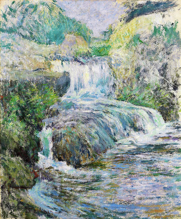 Waterfall Art Print featuring the painting Waterfall - Digital Remastered Edition by John Henry Twachtman