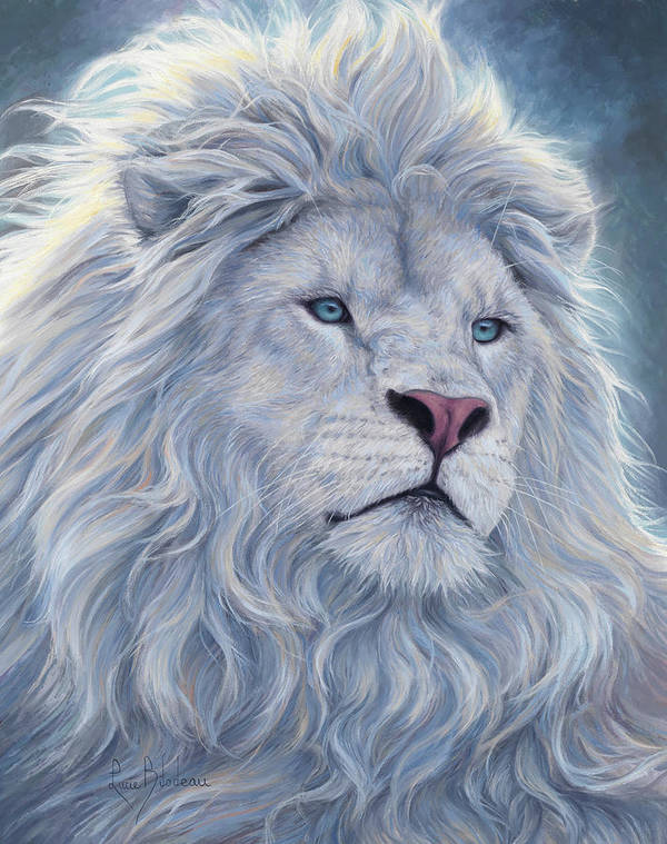 White Lion Art Print featuring the painting White Lion by Lucie Bilodeau