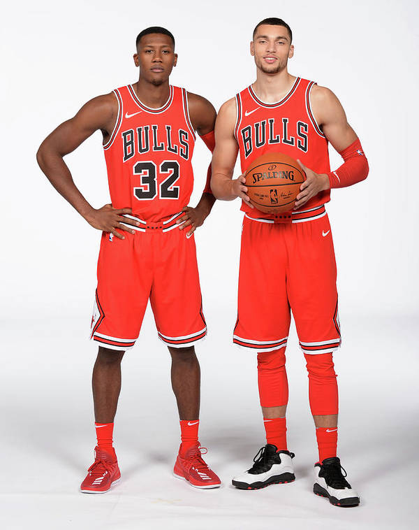 Media Day Art Print featuring the photograph Zach Lavine and Kris Dunn by Randy Belice