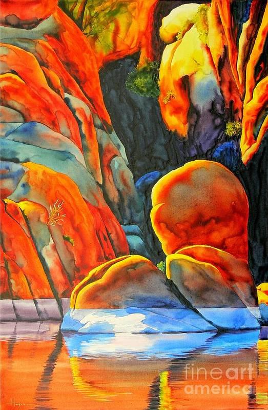 Watercolor Art Print featuring the painting Watson Lake by Robert Hooper