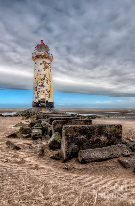 Beach Print featuring the photograph Lighthouse Steps by Adrian Evans