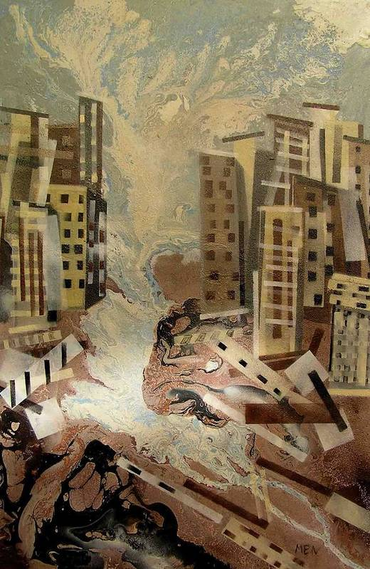 Art Print featuring the painting Skyleaking City by Evguenia Men