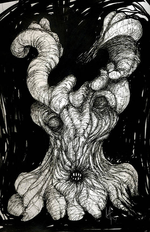 Surreal Drawing Print featuring the drawing The Itch by Mark M Mellon