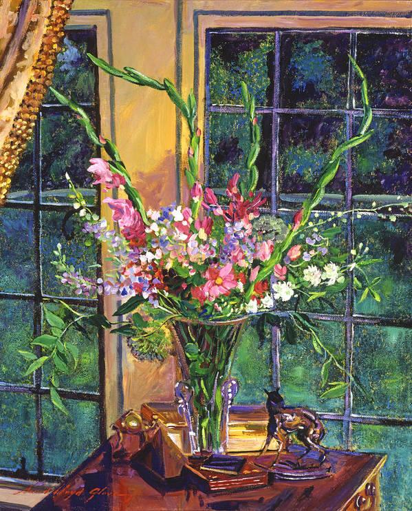 Still Life Art Print featuring the painting Gladiola Arrangement by David Lloyd Glover