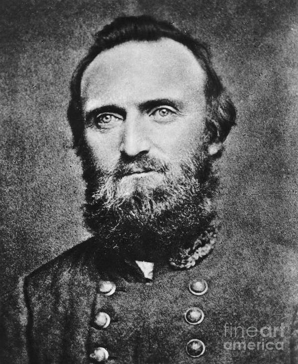 History; Vertical; Portrait; Looking At Camera; Head And Shoulders; One Mature Man Only; One Person; Stonewall Jackson; Confederate; General; American Civil War; Leader; Military; Mathew Brady Art Print featuring the photograph Stonewall Jackson by Anonymous