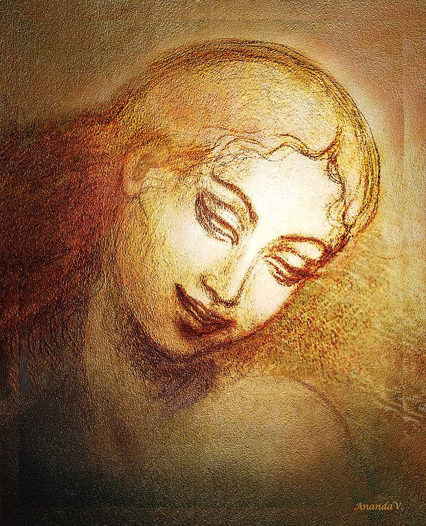 Goddess Art Print featuring the mixed media Ecstasy by Ananda Vdovic