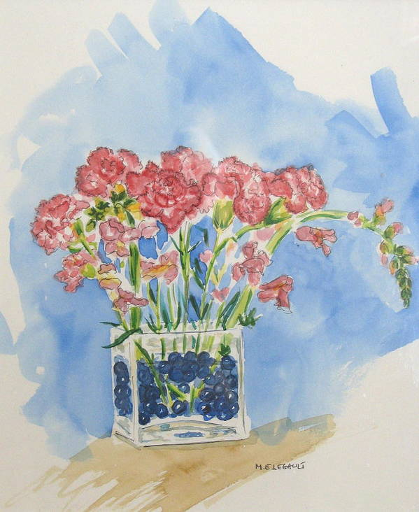 Flowers Art Print featuring the painting Flowers In A Vase by Mary Ellen Mueller Legault