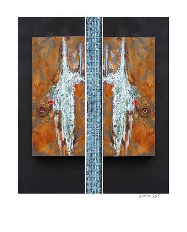 Spachteltechnik Art Print featuring the mixed media Rust Art 02 by Gertrude Scheffler