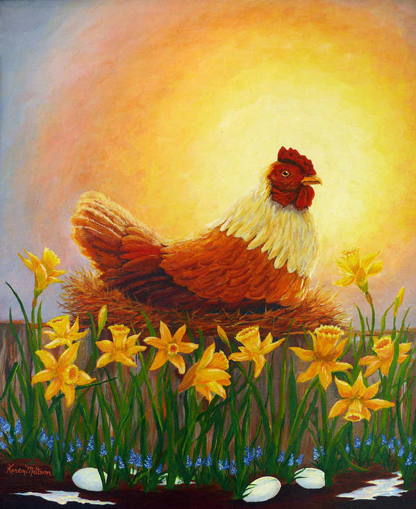 Spring Art Print featuring the painting Spring Chicken by Karen Mattson