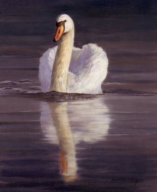 Swan Art Print featuring the painting Swan by David Stribbling
