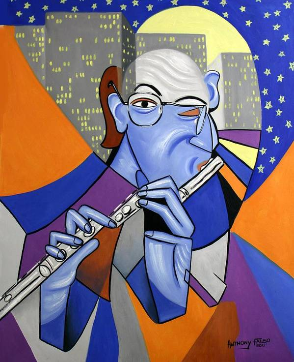The Flutist Art Print featuring the painting The Flutist by Anthony Falbo