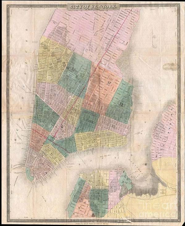 This Is The C. 1834-1836 Edition Of David H. Burr And Edward Walker's Important Pocket Map Of The City Of New York. Covers New York City South Of 26th Street On The West Side And South Of 40th Street On The East Side. Shows The City In Considerable Detail With Attention To Churches Art Print featuring the photograph 1835 David Burr Map Of New York City by Paul Fearn
