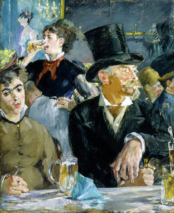 Edouard Manet Art Print featuring the painting At The Cafe by Edouard Manet