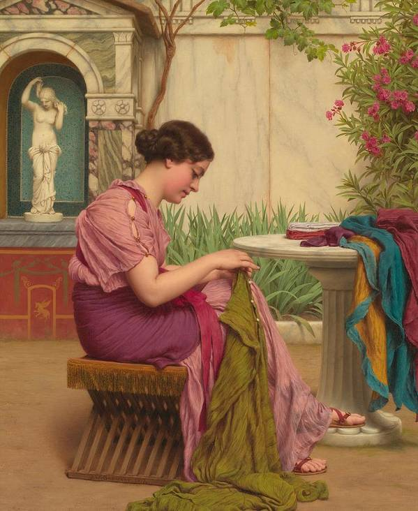 Female; Seated; Classical; Garden; Outdoors; Outside; Fabric; Fabrics; Seamstress; Creating; Making; Material; Profile; Portrait Art Print featuring the painting A Stitch Is Free Or A Stitch In Time 1917 by John William Godward