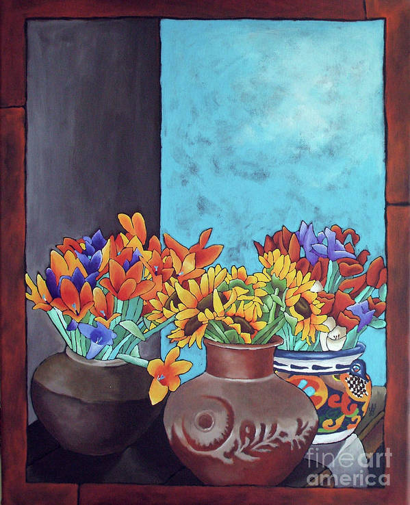 Flowers Print featuring the painting Annie's Flowers by Yvonne Gillengerten