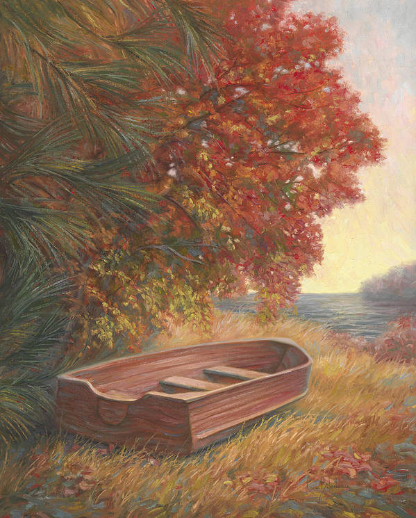 Rowboat Art Print featuring the painting At Rest by Lucie Bilodeau