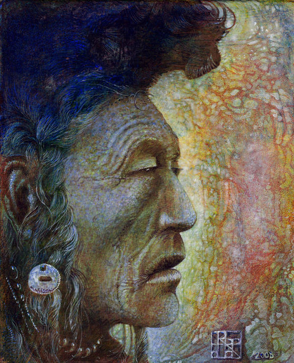 Bear Bull Art Print featuring the painting Bear Bull Shaman by Otto Rapp