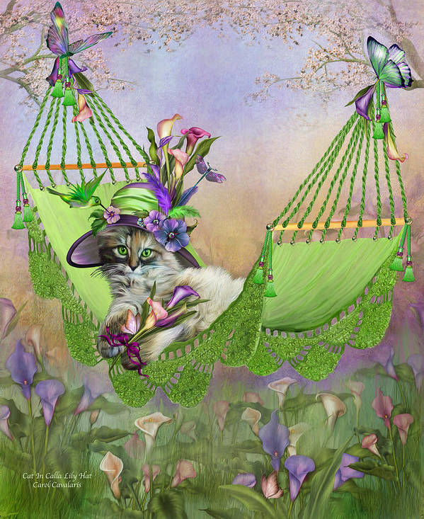Cat Art Print featuring the mixed media Cat In Calla Lily Hat by Carol Cavalaris