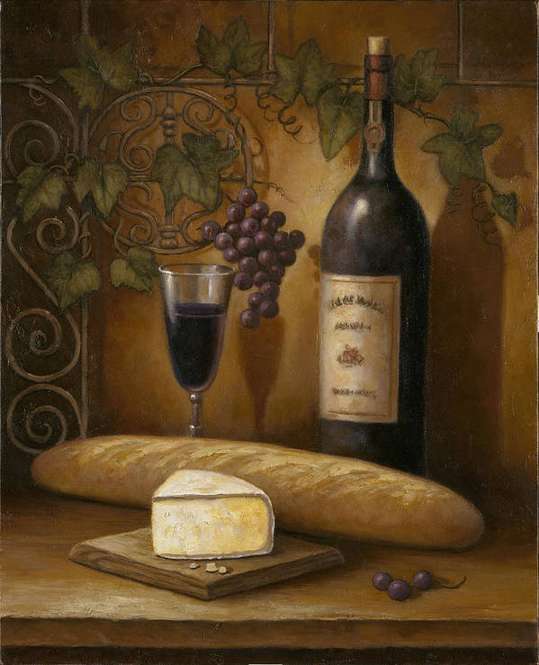 Chef Print featuring the painting Cheese And Wine by John Zaccheo
