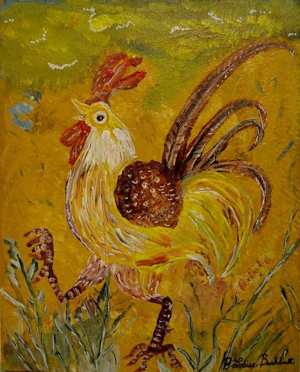 Chicken Print featuring the painting Crazy Chicken by Louise Burkhardt