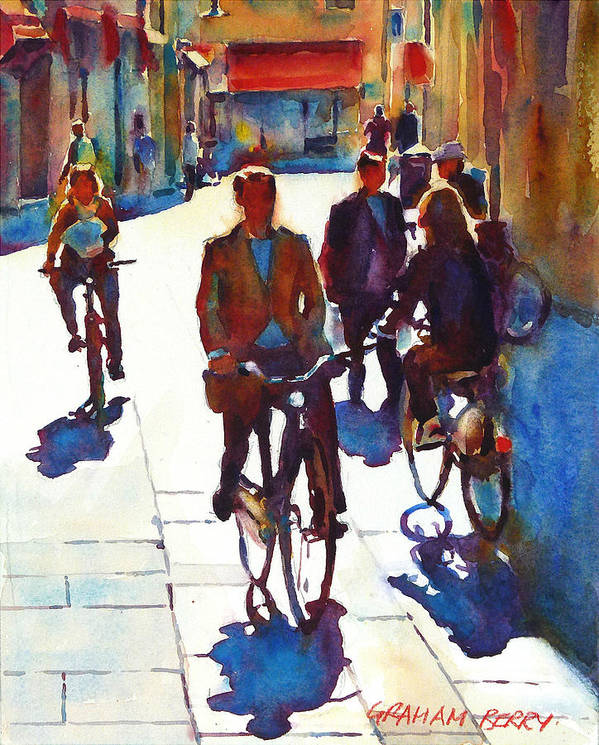 Cycling Art Print featuring the painting Cycling In The City by Graham Berry