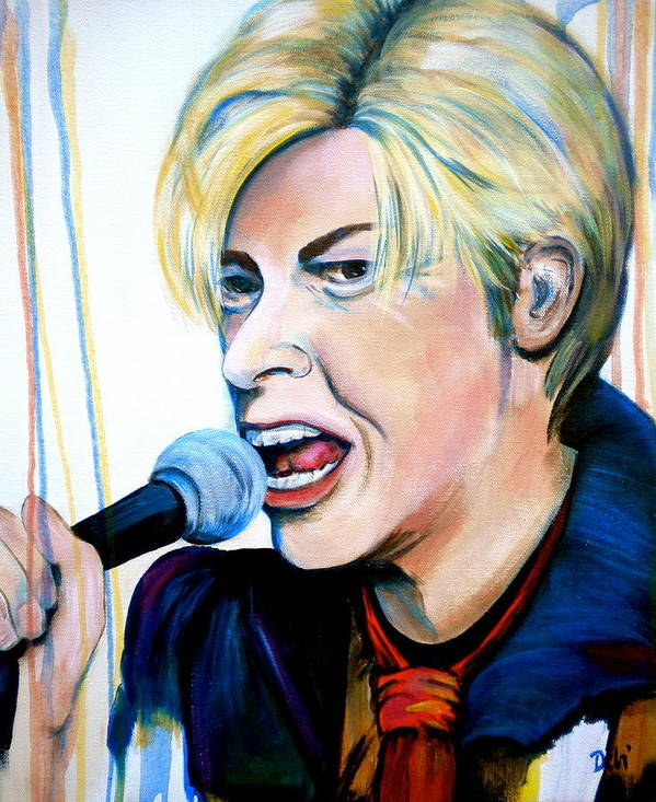 David Bowie Art Print featuring the painting David Bowie by Debi Starr