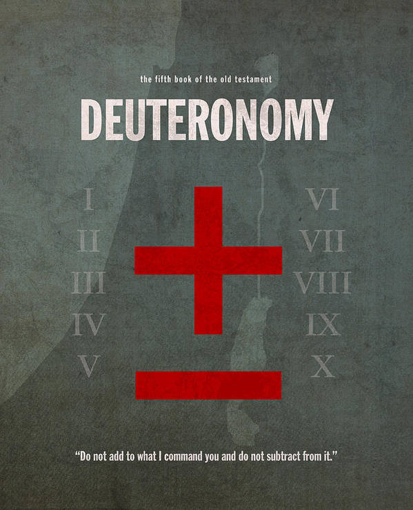 Deuteronomy Art Print featuring the mixed media Deuteronomy Books Of The Bible Series Old Testament Minimal Poster Art Number 5 by Design Turnpike
