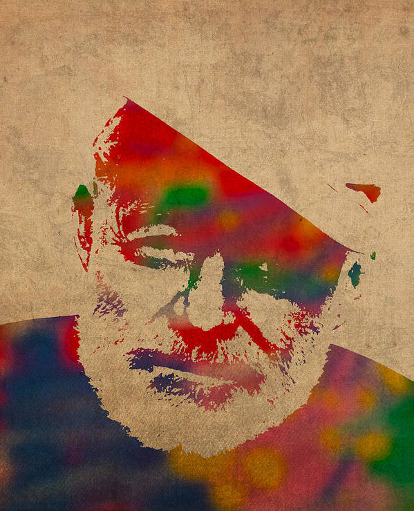 Ernest Hemingway Watercolor Portrait On Worn Distressed Canvas Art Print featuring the mixed media Ernest Hemingway Watercolor Portrait On Worn Distressed Canvas by Design Turnpike