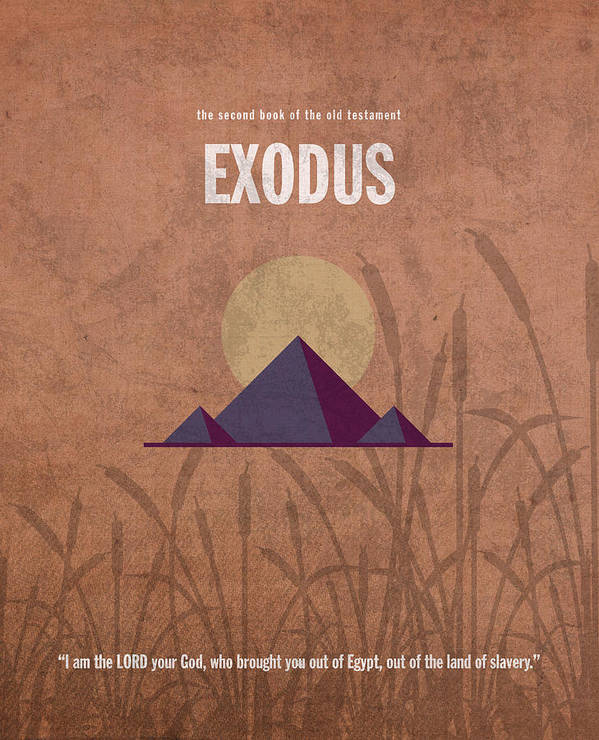 Exodus Print featuring the mixed media Exodus Books Of The Bible Series Old Testament Minimal Poster Art Number 2 by Design Turnpike