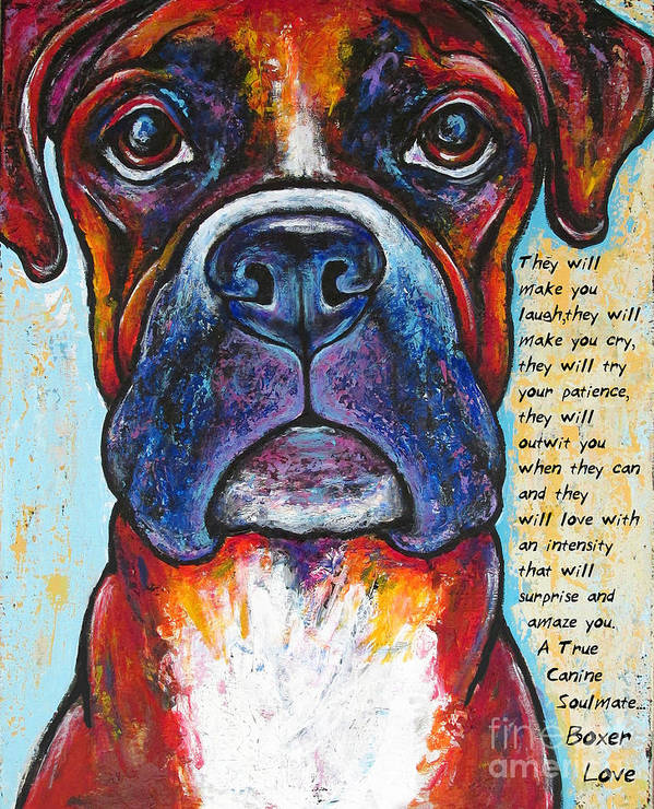 Boxer Art Print featuring the painting Fawn Boxer Love by Stephanie Gerace