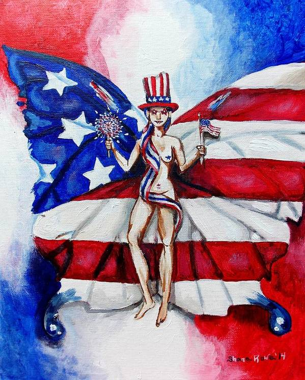 Independence Art Print featuring the painting Free As Independence Day by Shana Rowe Jackson