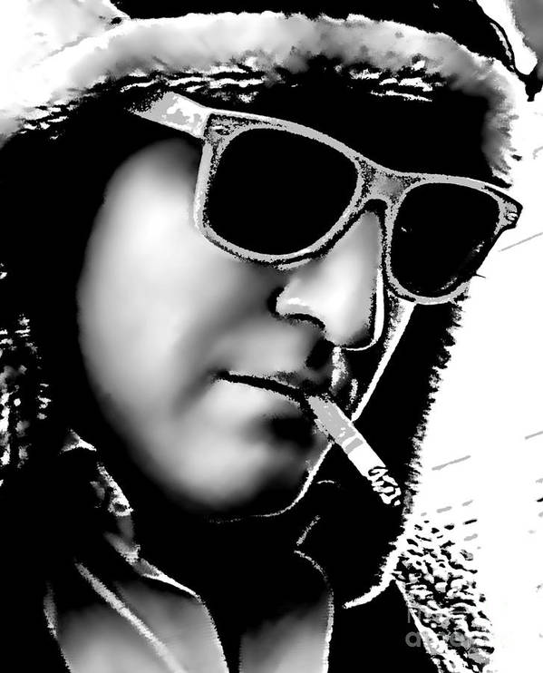 Cigarette Art Print featuring the photograph Fur Hat And Goggles by Phil Robinson
