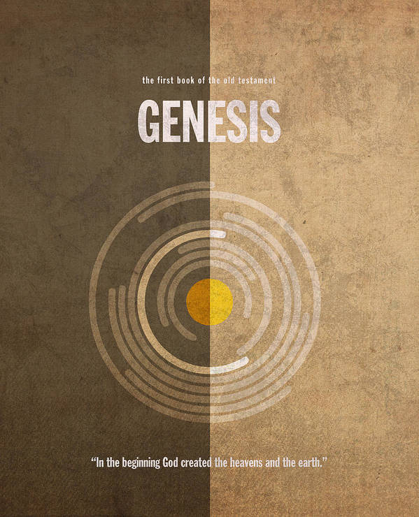 Genesis Art Print featuring the mixed media Genesis Books Of The Bible Series Old Testament Minimal Poster Art Number 1 by Design Turnpike