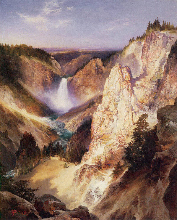 Thomas Moran Art Print featuring the digital art Great Falls Of Yellowstone by Thomas Moran