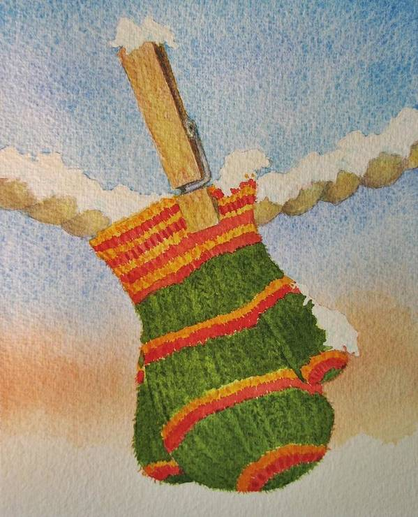 Children Art Print featuring the painting Green Mittens by Mary Ellen Mueller Legault