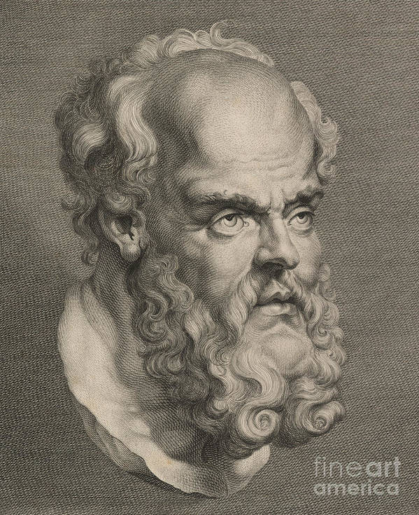 Philosopher; Socrates; Vertical; Portrait; One Man Only; One Person; Illustration And Painting; Text; Western Script; Beard; Moustache; Part Of; Human Head; Wisdom; Balding; Socrates Print featuring the sculpture Head Of Socrates by Anonymous