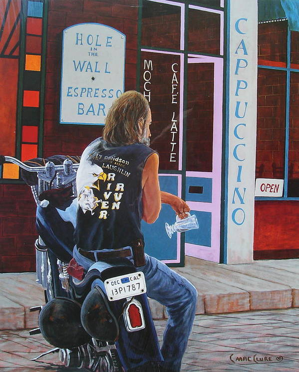 Motorcycle Art Print featuring the painting Hole In The Wall by Chris MacClure