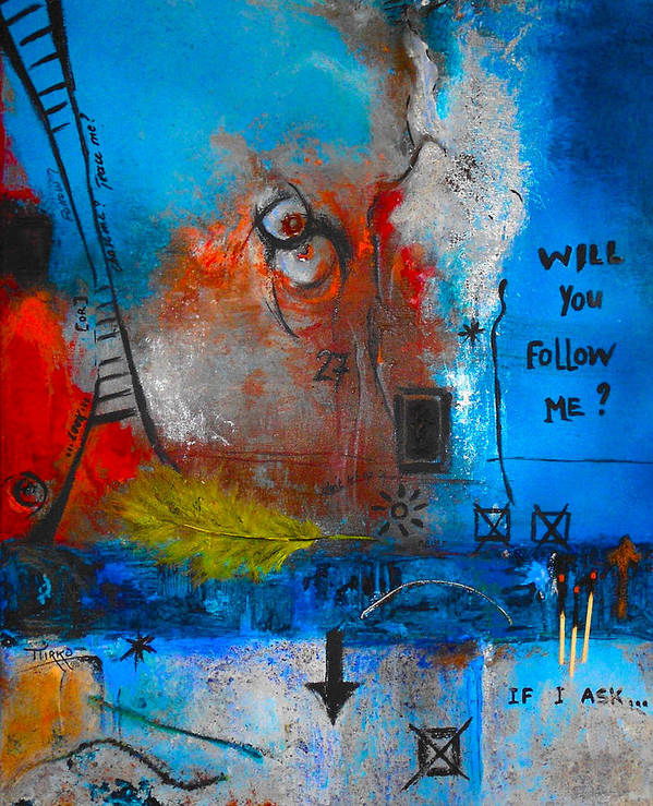 Abstract Art Print featuring the painting If I Ask by Mirko Gallery